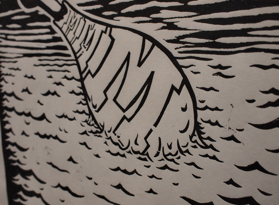 """18x24"""" woodcut. My homage to <a href=""""http://www.mikegiant.com"""">Mike Giant</a> and <a href=""""http://www.helmsworkshop.com"""">Christian Helms</a>."""